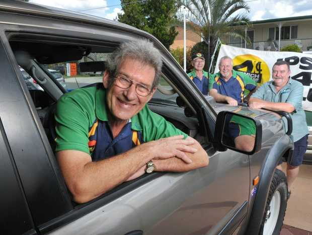 Ipswich 4WD Club members John Holden (front), Gary Chapman, Jim Williams and Joe Elmore are organising a fundraising event to raise more for prostate cancer research.