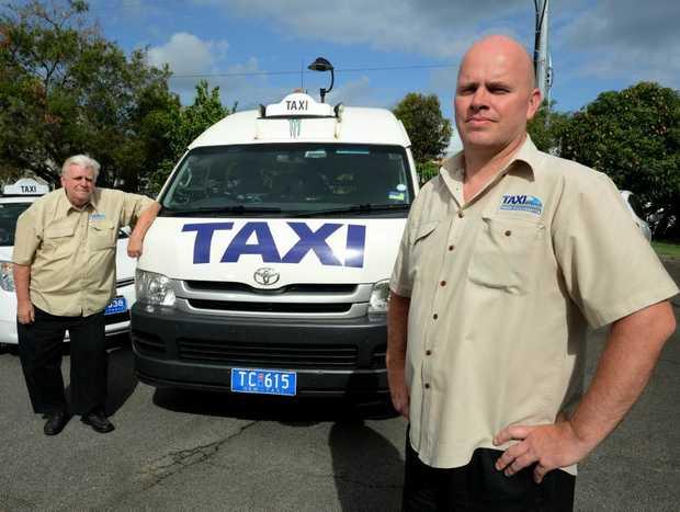 Drivers Brian Foster and Dean Matthews. No Taxi marshalls. Photo: John Gass / Daily News