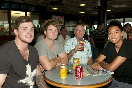 Enjoying the races at Clifford Park are (from left) Joel Koina, Corey Weston, Ronnie Weston and Silde Canda. Photo Nev Madsen / The Chronicle