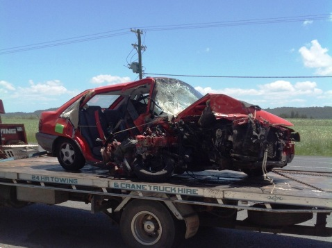 One of the vehicles involved in this morning's fatal crash on the Pacific Highway near Iluka that closed both lanes for four hours. Photo: Rob Cork.