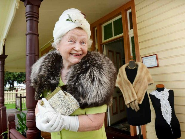 BYGONE ERA : Ina Le Bas vice president of the Alstonville Plateau Historical Society at Crawford House wearing some of the items from the Heads, Necks, Hands and Tootsies exhibition.