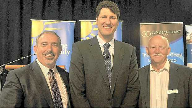 Former Wallaby captain John Eales with Grant Ferry and Ross Hepworth.