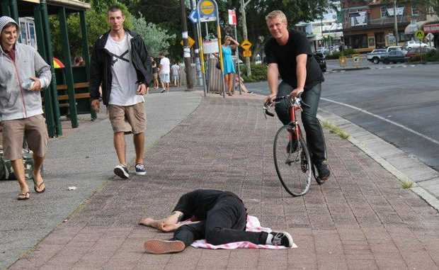 This sleepy reveller could not be roused in Jonson St, Byron Bay this morning. Photo: Sue Gardiner