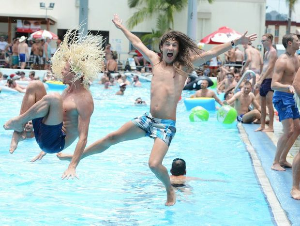 Pictured at Lismore Memorial Baths for the Tropical Fruits Pool Party are from left Sydney visitors Gareth Rowe and Darren Prendergast.