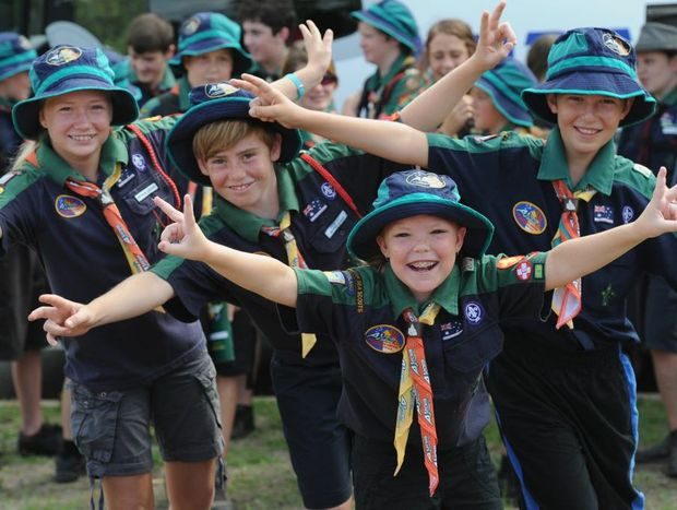 Caitlyn Drury ( front) Courtney Anderson, Rory Golik and Toby Hegh are excited but a little nervous about their first Australian jamboree.