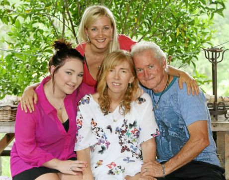 TRUE FRIENDS: Johanna (back) with Gilly, her 16-year-old daughter Madi and husband, Jim.