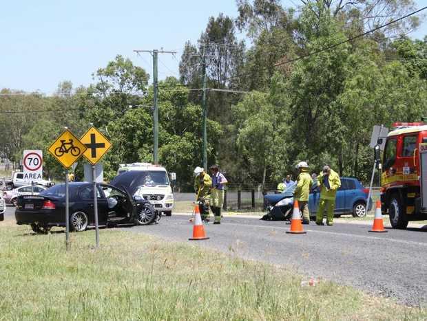 Head on crash at Hatton Vale on 02/01/13. Photo by Tom Threadingham, Gatton Star