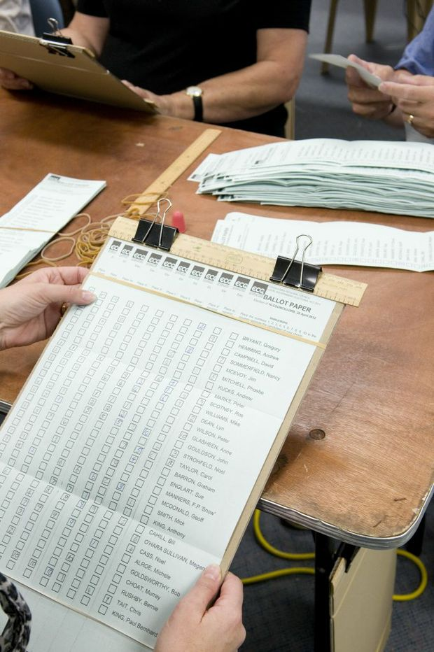 Vote counting at the Electoral Commission Queensland Toowoomba office in the last local government election.