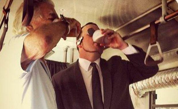Bob Hawke and Sam Coward drink a beer together at Woodford Folk Festival 2012/13.