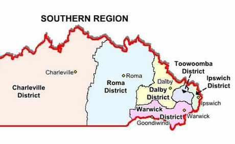 A map of the current Queensland Police Service's southern region.