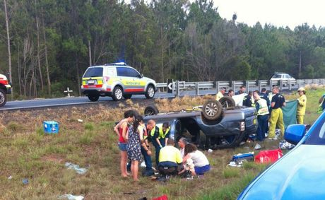 The scene of the crash on the Bruce Highway at Glasshouse Mountains