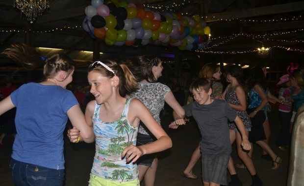 FOOT STOMPING: Tori Hickmott and Kelsey Haggar enjoy one of the many dances to the Ridgee Didge Bush Band on New Year's Eve at the jondaryan Woolshed.