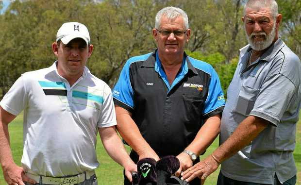 Tim Sutton, sponsor David Kemp, of B and K Motors, and Charlie Morrison in the run-up to the final Warwick Golf Club monthly medal for the season.