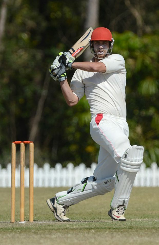 Sunshine Coast Scorchers against Gold Coast cricket match. Scorchers batsman Peter Dein stands tall during the first innings. Photo:Warren Lynam / Sunshine Coast Daily