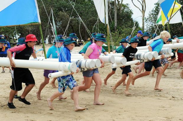 Scouts held their raft races on dry land after Scarness beach was closed briefly over the weekend after an irukandji scare.
