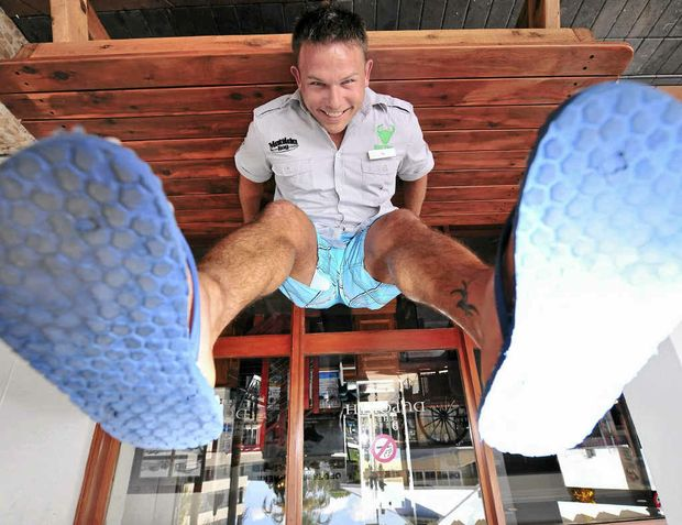 FEET FIRST: Duporth Tavern general manager Aaron Jensen is fired up for an Australia Day thong race world record attempt at the tavern.