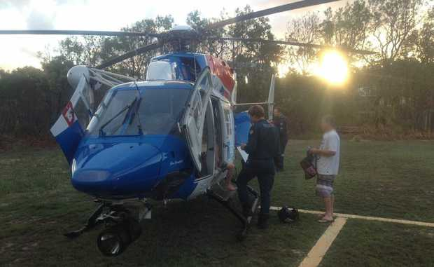 A child was airlifted off Fraser Island after being stung by what might be an Irukandji jellyfish.