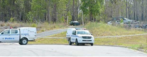 SURROUNDED BY MYSTERY: The scene in Landsborough yesterday where a man was attacked with a machete.