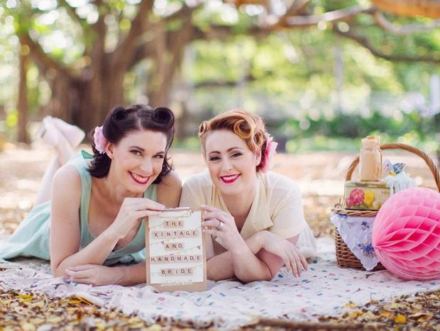 Melanie Weijers (left) and Kim McKenzie de Gonzalez of The Vintage and Handmade Bride will stage a vintage and handmade wedding fair, Love Sweet Love, at Gabbinbar Homestead on January 13