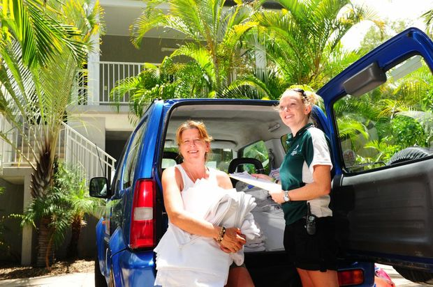Sandcastles 1770 Motel and Resort site manager Bernadette Grassby (left) and Laura Casserley have had a busy Christmas period as tourists flock to 1770/Agnes Water.