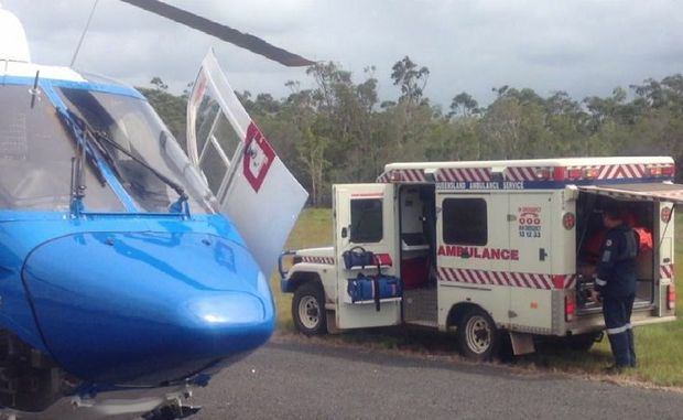 A 41-year-old tourist was airlifted off Fraser Island by the AGL Action Rescue Helicopter after he was bitten by a centipede.