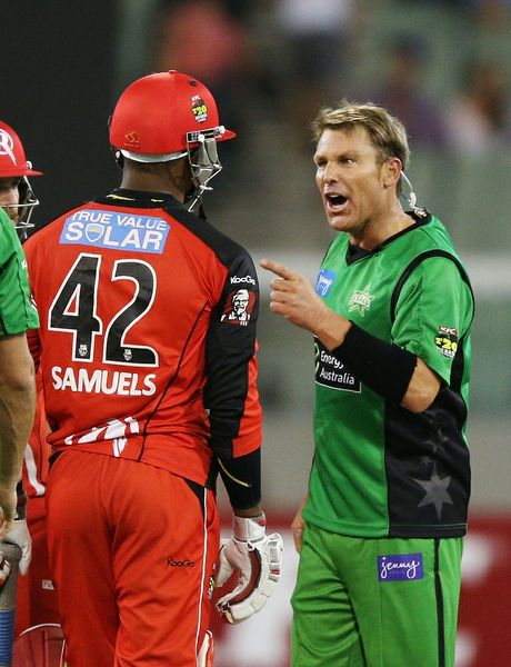 A cosmetically enhanced Shane Warne explodes during a conflict with West Indies batsman Marlon Samuels in a charged Big Bash League Twenty20 game between the Melbourne Stars and Renegades last Sunday.