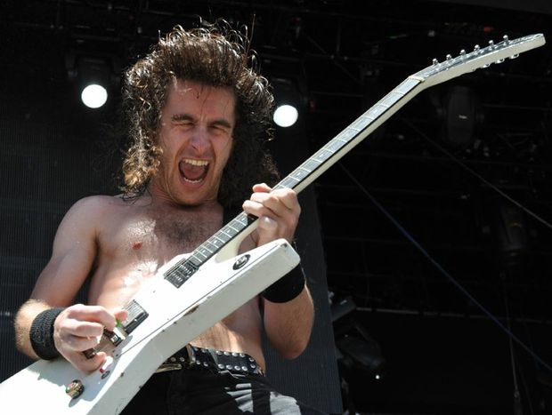 Airbourne lead vocalist Joel O'Keeffe performs at Big Day Out 2011.