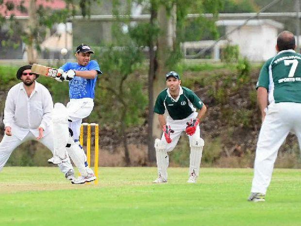 Avatar batsman Alex Christian attempts a shot in his side's match against Frenchville Falcons.