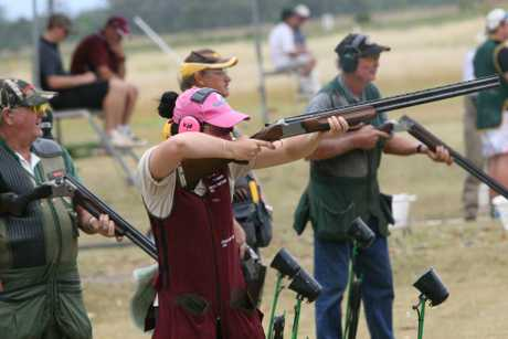 SHARP SHOOTER: Kingaroy Clay Target Club's and junior Queensland representative Erin Stewart takes aim during the club's first shoot of the year. Photo: Aiden Burgess / South Burnett Times