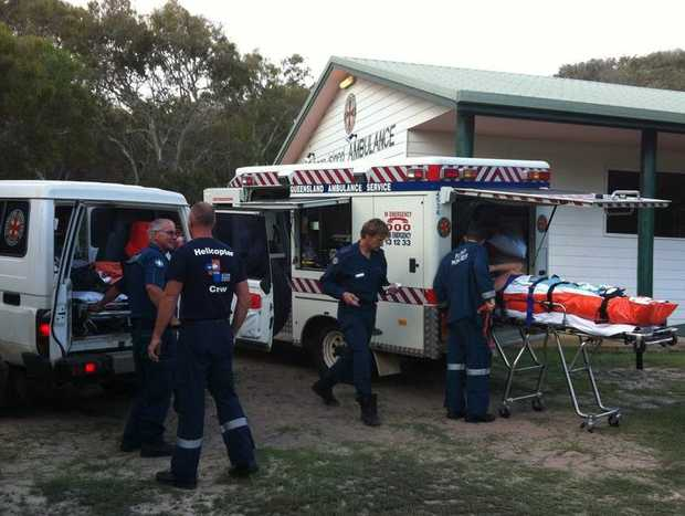 A French couple had to be airlifted to Hervey Bay Hospital after being injured when the tour bus they were travelling in on Fraser Island hit a washout on the beach.