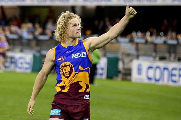 Daniel Rich of the Lions after winning the round 23 AFL match between the Brisbane Lions and the Western Bulldogs at The Gabba on September 2, 2012 in Brisbane, Australia.