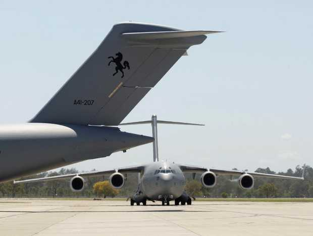 RAAF aircraft, officially the A41 C-17 GLOBEMASTER Third Series 1961, took a run over Tweed today.