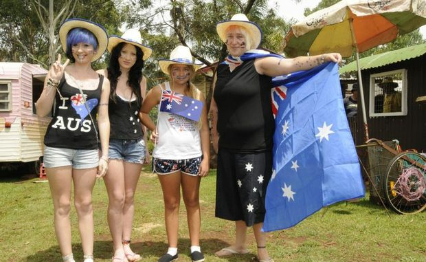Enjoying last year's Highfields Pioneer Village Australia Day activities is (from left) Emma Gunther, Kelly Gunther, Courtney Kinchela and Stacy Gunther.