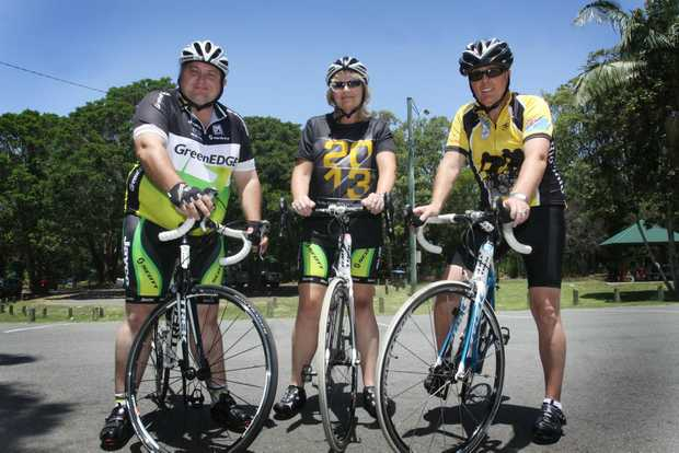Adrian Raedel and Tracey and Gavin Douglas are in training for the Rio Tinto Ride to Conquer Cancer. Photo Vicki Wood / Caboolture News