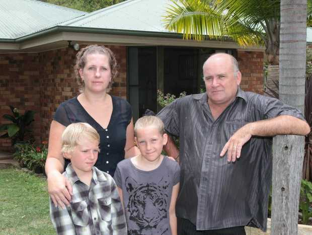 Stephanie and Mark Lavery, pictured with children Jack and Breeanna, both lost their Queensland government jobs. Photo: Darryn Smith / Sunshine Coast Daily