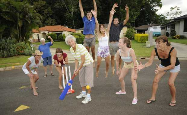 82 year old Beatrix Walsh of Alstonville had her first ever game of cricket with her neighbours. Austrain born she has lived in Australia for 52 years (From Left) Tammy Short, Shirley Fletcher,Bonnie Watson,Beatrix Walsh, Alex Watson, Ellie Bullen,Simon Tozer, Nikita Short, and Karen Watson. Photo Doug Eaton / The Northern Star