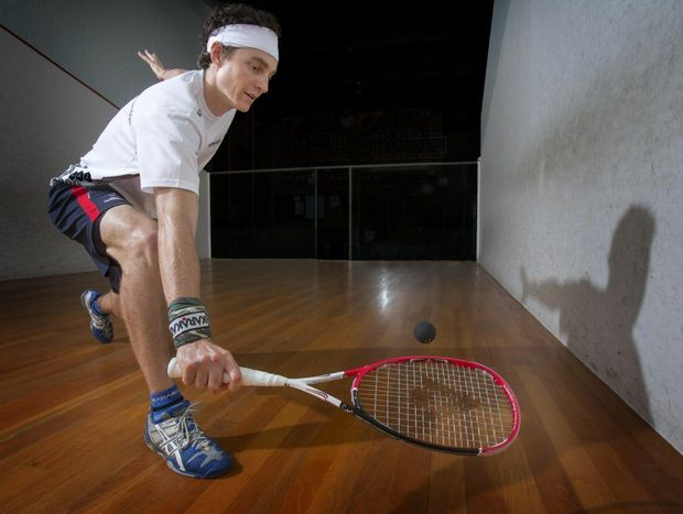 Cameron Pilley practices at the Yamba squash court on his return to home town for the summer break. Photo Adam Hourigan / The Daily Examiner