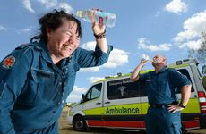 Ipswich ambulance paramedics Angela Perry and Kelvin Archer give tips for keeping cool during the hot weather.