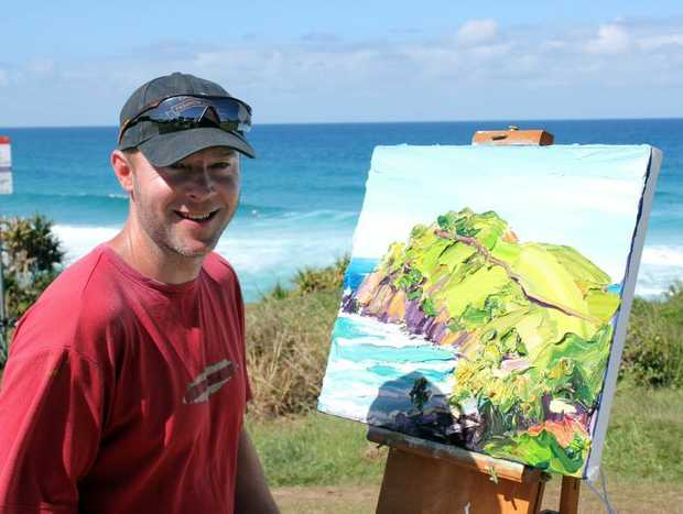 Artist Steve Tyerman was spotted by Cabarita residents painting last week.