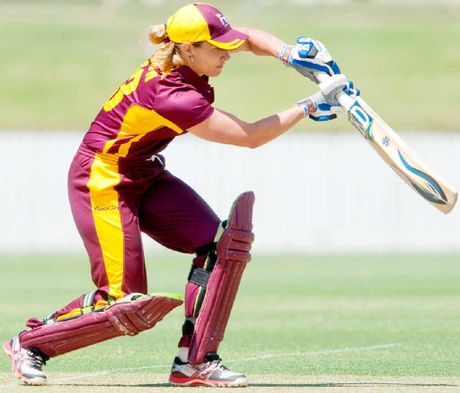 HITTING FORM: Ipswich product Mel Bulow gets on the front foot for Queensland.