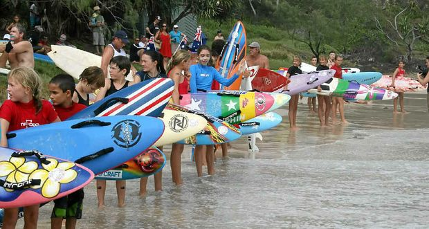 ALL AGE EVENT: Nippers get ready for the start of the Australia Day Paddle last year.