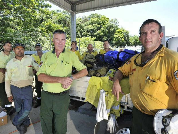 Vince Cavongh, Paul King, Tony Killmurray, John Groves (crew leader), Richard Heywood, Peter Robinson (crew leader), George Worthington, Nathan Stubbings, National Parks and Wildlife Services firefighters going to Cooma in the state's south, to help fight fires.