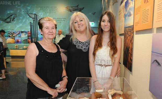 Lavina McCord from Hervey Bay and Tina and Casee-Lee Hall from Emerald have a fascinating time in the Discovery Sphere.