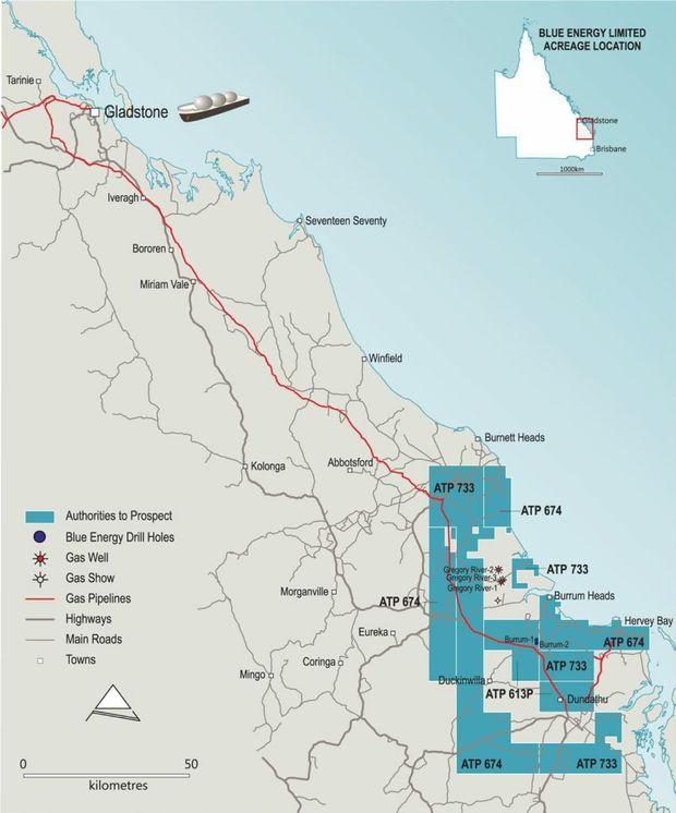 Blue Energy and Beach Energy's Maryborough Basin permit locations.