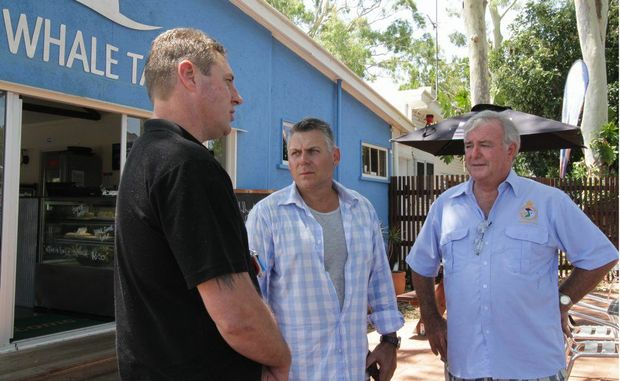Political candidate for Hinkler Rob Messenger (centre) pictured with Vietnam veteran Roger Dwyer (right) and local business owner Shaun Beckett.