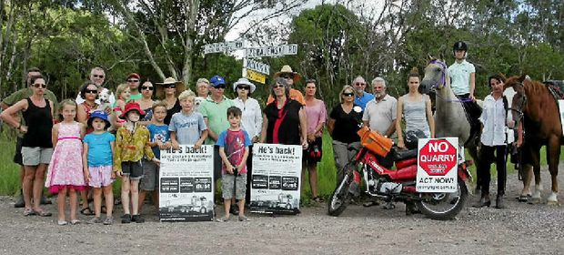 NO QUARRY: Residents protest about the proposed quarry at Yandina Creek.