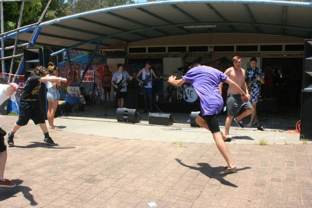 THE HEAT IS ON: The kids ignored the sun beating down to mosh to death core band Morgan Freeman at the YAC's all-day concert on Saturday. Photo Digby Hildreth / Byron Shire News
