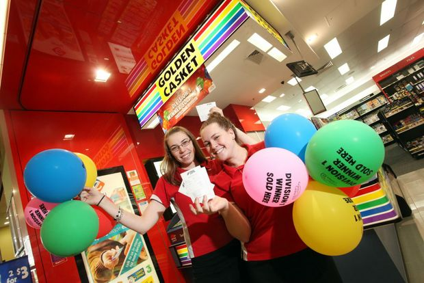 Andrea Smith and Chloe Sorrell from Golden Casket at Underwood Market Place where they sold a first division winner of Gold Lotto on January 5th. Photo: Inga Williams / The Reporter