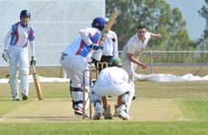 Northsiders bowler Aaron Nugter sends one down against Swifts, an inning where Aaron collected four wickets. Photo: Rob Williams / The Queensland Times