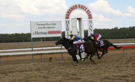 GREAT FINISH: Nanango horse Blackgold wins the Nanango Gas Suppliers Handicap during Saturday's Nanango Races.